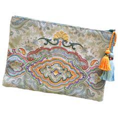Boho chic handbag. Embellished clutch. Fabric bag. Handmade bag. (530 ARS) ❤ liked on Polyvore featuring bags, handbags, clutches, blue clutches, green clutches, gold clutches, handbags purses and gold purse