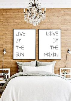 Set Of Two Prints - Poster pair - Double poster - Typography Gypsy Boho- eclectic - Over the bed Decor - Print Sets - printable file - chrySSa-home-decor-ideas Sweet Home, Diy Casa, Eclectic Decor, Eclectic Bedrooms, My New Room, Apartment Living, Apartment Interior, Diy Home Decor, Gypsy Home Decor