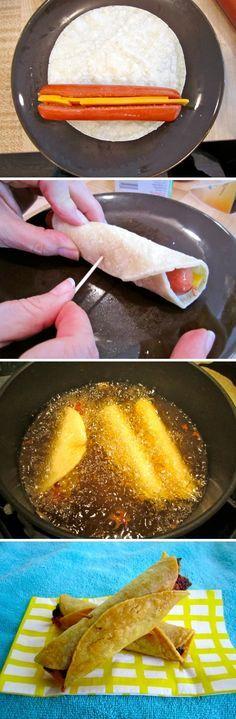 Rollos de tortilla + salchichas + queso = Wrap