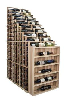 Designer Waterfall Wine Rack Finish: Unstained Premium Redwood by Wine Cellar Innovation. $673.50. Molding packages are available separately. Bottle capacity: 270. Finish: Premium Redwood Unstained. Available in various wood types and finishes. Vertical Display Bin shown in the front of the waterfall is sold separately. DR-UN-WATER Finish: Unstained Premium Redwood Features: -Bottle Capacity: 270.-Individual bottle wine storage cascading down with a waterfall of display b...