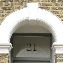 Custom Number Custom Text & Numbers & Frosted & Decorative Window Film from Brume Ltd Front Door Numbers, Front Door Colors, Glass Front Door, Glass Door, Front Doors, Porch Doors, Windows And Doors, Traditional House Numbers, Frosted Glass Window