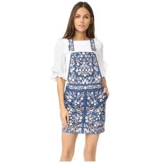 Needle & Thread Denim Embroidery Pinafore Dress (4 430 SEK) ❤ liked on Polyvore featuring dresses, washed indigo, broderie dress, denim dress, denim bib dress, floral embroidered dress and indigo dress