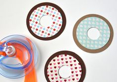 DIY donut valentines http://www2.fiskars.com/Kids-Activities-School/Projects/Cards/Holiday/Whimsical-Valentines-Cards-for-Kids