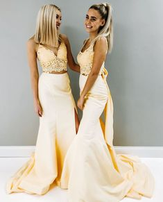 Two Piece Mermaid Yellow Long Prom Dress with Slit Prom Girl Dresses d2f95e6b7d39