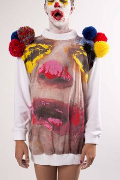 """Dean Sidaway """"American Cream"""" Spring/Summer 2014 collection features leather, latex, pom-pom and stitch bedeck pan stick imagery of another ..."""