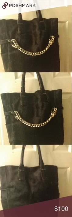 A purse genuine leather real fur Black and genuine  Black mink fur and leather bag falor Bags Shoulder Bags