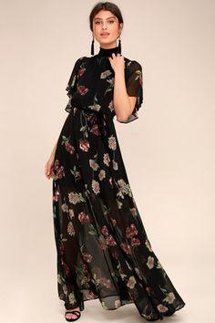 The Every Little Thing Black Floral Print Maxi Dress will make everything alrigh. - Fashion The Every Little Thing Black Floral Print Maxi Dress will make everything alrigh. Sexy Maxi Dress, Boho Dress, Dress Skirt, Maxi Dresses, Maxi Skirts, Ruffle Dress, Chiffon Maxi Dress, Long Dresses, Tank Dress