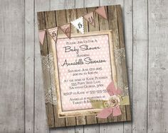 Girl Baby Shower Invitation Rustic Wood Pink Lace por MintedPress