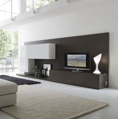 Furniture,Extraordinary White Wall Paint Tv On The Wall Ideas With Charming Dark Brown Wooden Wall Unit And Beautiful Cream Sisal Rug Plus Soft Black Fur Rug Also Modern White Ceramic Floor,Coolest Furniture Tv On The Wall Ideas