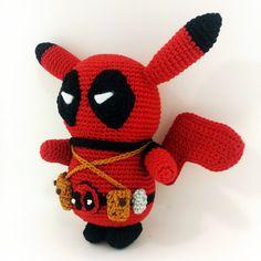 Pikachu Deadpool Edition Amigurumi Crochet Doll *Made to order*