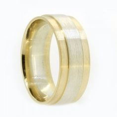 Two tone gold mens wedding ring, 8.0mm wide with white gold centre and yellow gold side rails, brushed finish, comfort fit inside.