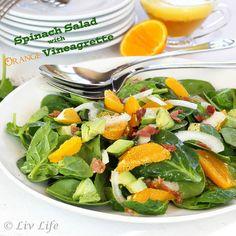 Spinach Salad with Orange Vinaigrette and Prosciutto Recipe Salads with prosciutto, orange, orange, balsamic vinegar, honey, garlic, olive oil, baby spinach, orange, onion, pepper, salt