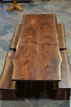 Live Edge Walnut Slab Dining Table - Home Decor Live Edge Furniture, Log Furniture, Furniture Ideas, Custom Wood Furniture, Natural Wood Furniture, Walnut Furniture, Furniture Makers, Apartment Furniture, Farmhouse Furniture