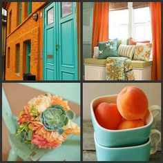 tangerine and turquoise + grey = this is exactly what I'm going to do with my kitchen, but I might need to tie in the blue in my living room with the greens also.