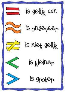 Wat wordt er nou ook alweer bedoeld met het = teken? Wat is het verschil tussen < en > ook alweer? En welk teken gebruik ik voor een uitkomst die ongeveer goed is?