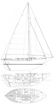 Westsail 32 drawing on sailboatdata.com - Specifications LOA: 40′ (including bowsprit and boomkin) LOD: 32′ 0″ LWL: 27′ 6″ Beam: 11′ 0″ Draft: 5′ 0″ Displacement: 19,500 lbs. Ballast: 7,000 lbs. Sail Area: 629 sq. ft. Bridge Clearance: 49′ 0″  Headroom: 6′ 2″ Water: 80 US gal. Fuel: 70 US gal. Engine: 25hp Volvo MD2B / 35hp Volvo MD3B / 50hp Perkins 4-107 diesel  Designer: William I. B. Crealock Year Introduced: 1971 Year Ended: 1981 Builder: Westsail / P&M Worldwide