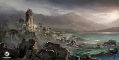 View an image titled 'Royal Port Art' in our Assassin's Creed IV: Black Flag art gallery featuring official character designs, concept art, and promo pictures. Concept Art World, Game Concept Art, Environment Concept Art, Environment Design, Assassins Creed Black Flag, Landscape Concept, Landscape Design, Flag Art, Inspirational Artwork