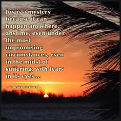 """Joy is a mystery because it can happen anywhere, anytime, even under the most unpromising circumstances, even in the midst of suffering, with tears in its eyes...."" ~ Frederick Buechner #quote"