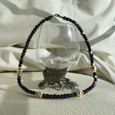 Men's Necklace - Black wooden beads and Skull Necklace - Handmade Jewelry £16.45