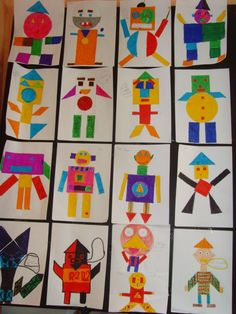 In geometry, we imagined robots on leaves. Shape Collage, Shape Art, Kindergarten Art Lessons, Art Lessons Elementary, Arte Elemental, Arte Robot, Math Art, Shape Crafts, Preschool Art