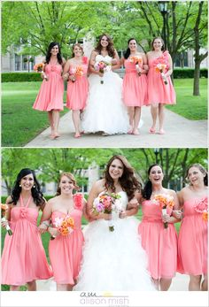 Coral bridesmaid dresses. Pittsburgh Wedding..... love the color!