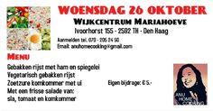 26 Okt – Genieten van Anu Home Cooking in het Wijkcentrum - http://www.wijkmariahoeve.nl/anu-home-cooking-in-het-wijkcentrum/