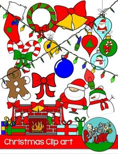 Christmas / Winter Holiday Clipart and Border  Included is a set of 80 individual files.  Included are 48 Color & 33 White     $