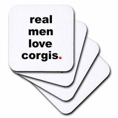 3dRose Real men love corgis, Ceramic Tile Coasters, set of 4