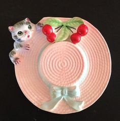 Vtg Pink Hat w Cat Cherries Wall Pocket | eBay