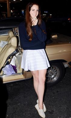 Lana Del Rey in a cute jumper and skirt combination in LA
