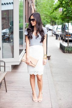 {Grey tee and white lace pencil skirt.}