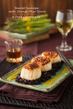 Here's an easy, fast dinner for Valentines or any time. Big, plump seared sea scallops served with an orange miso sauce. Serve with Forbidden black rice and either roasted asparagus or broccolette. You can make this entire meal in about 30 minutes.