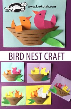 BIRD NEST CRAFT Best Picture For kids fashion For Your Taste You are looking for something, and it is going Bird Nest Craft, Bird Crafts, Easter Crafts, Decor Crafts, Home Crafts, Bird Paper Craft, Spring Crafts For Kids, Paper Crafts For Kids, Diy For Kids