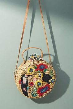 Toucan-Embroidered Straw Crossbody