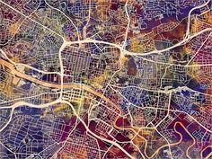 Glasgow Map Scotland Glasgow City Street Map Art Print