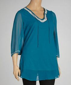Take a look at this Turquoise Embellished Tunic - Plus by Metro 22 on #zulily today!