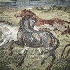 Kaunis vanha gobeliini - Hevoset maalaistalon edessä Moose Art, Animals, Animais, Animales, Animaux, Animal