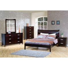 Stafford - This contemporary bedroom collection will add sophisticated style to your master bedroom. It has clean lines and tapered feet. Nighstand for $289, High chest for $689, Double Dresser for $759.