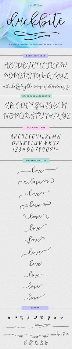 Meet Duckbite, a modern calligraphy swash font. Perfect for branding, wedding invitations, and so much more! The font design includes tons of swashes to add to your letters. Yummy!