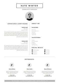 Minimal Resume Template For Word 1 U0026 2 Page CV By OddBitsStudio