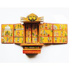 "This exclusive 12 inches tall Yellow Mustard ""Kavaad"" is an amazing folded wooden Hindu mythology history book whose origin is more than 500 years old.  shop this now at: www.theindianweave.com USD 90 / shipping worldwide"