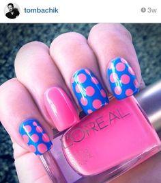 pink and blue polka dot nailart