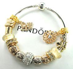 Authentic Pandora Silver bangle charm bracelet with European Charms gold heart #Pandorabarrellobsterbangleclaspclaw #European