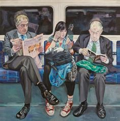 Ewing Paddock began a personal project of making paintings of people in the London Underground. Painting people is what interests Paddock most. London Underground, Underground Tube, Painting People, Figure Painting, Illustrations, Illustration Art, Nocturne, People Reading, London Painting