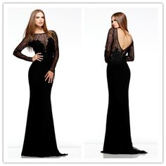 lace netting long sleeve elegant simple black sparkly low back long prom dress with sleeves-in Prom Dresses from Apparel & Accessories on Aliexpress.com