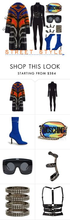 """""""Street Style"""" by adswil ❤ liked on Polyvore featuring Proenza Schouler, Maison Margiela, Vetements, Moschino, Hood by Air, Repossi and Zana Bayne"""