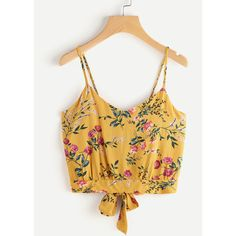 Floral Print Random Split Tie Back Cami Top (110 MXN) ❤ liked on Polyvore featuring tops, yellow, cami tank, yellow tank, floral tops, spaghetti strap crop top and yellow crop top