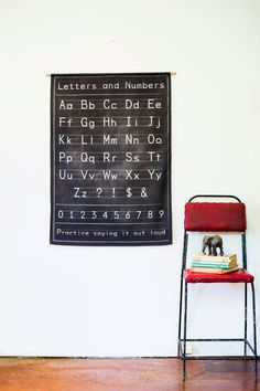 Alphabet Chart, vintage style. This is not a vintage item, but we have been inspired by classrooms of our childhood with this design, using a