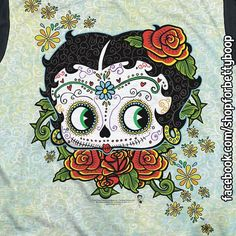 Betty Boop Sugar Skull Day of the Dead Adult T-Shirt GO TO: https://www.facebook.com/shopforbettyboop/photos/pb.1417958681841914.-2207520000.1447774969./1479329539038161/?type=3&theater  • Officially Licensed • For Dia de los Muertos, or everyday! • Material: 100% Polyester