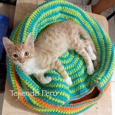 Lima está en pleno verano (a 30ºC!) y los gatitos duermen encima (y no adentro) de la cama que les tejimos a crochet :D